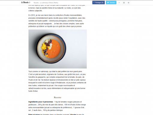 @Le Monde // Le salmorejo d'Alexis Muñoz