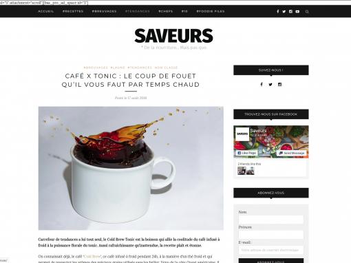 @Saveurs // Café Cold Brew x tonic